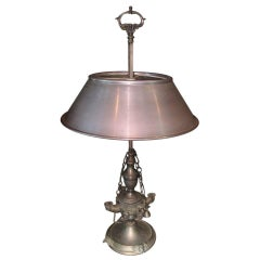 Neoclassical Bouillotte Silvered Bronze Oil Lamp