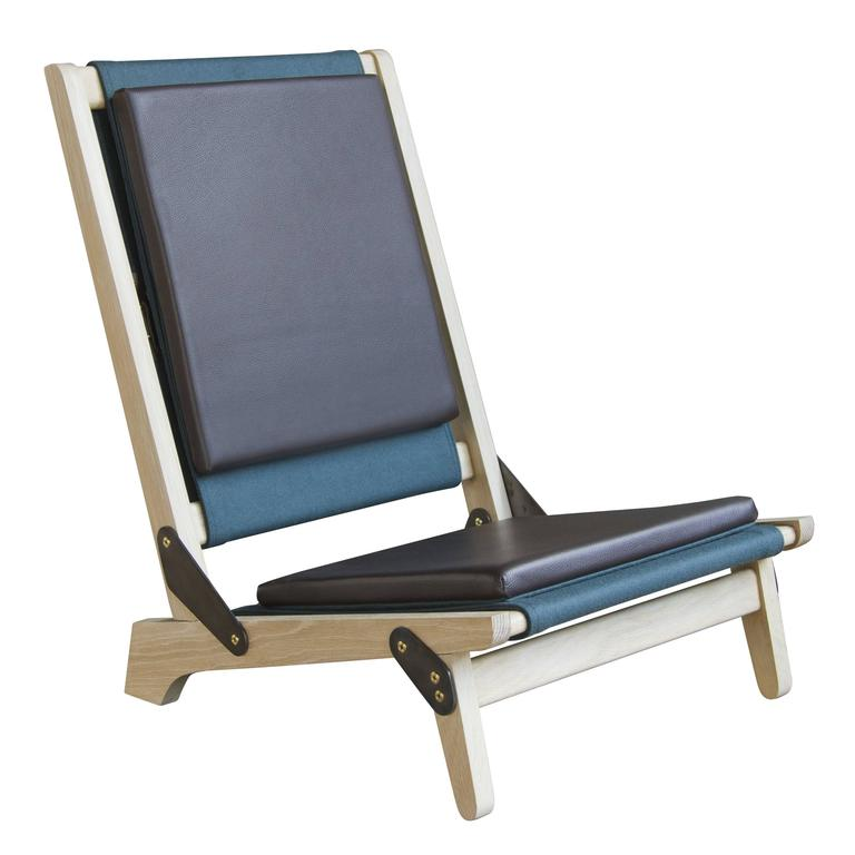 O.F.S. Folding Field Chairs in White Oak, Brown Leather and Felt Upholstery For Sale