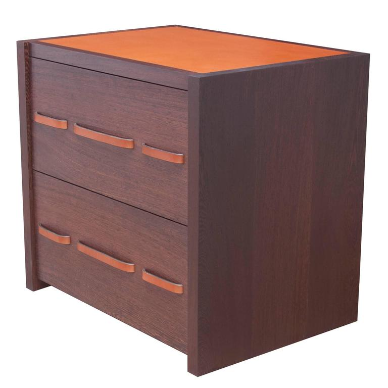 Seagram Night Table in Oiled Wenge with Bridle Leather Inlay and Drawer Pulls