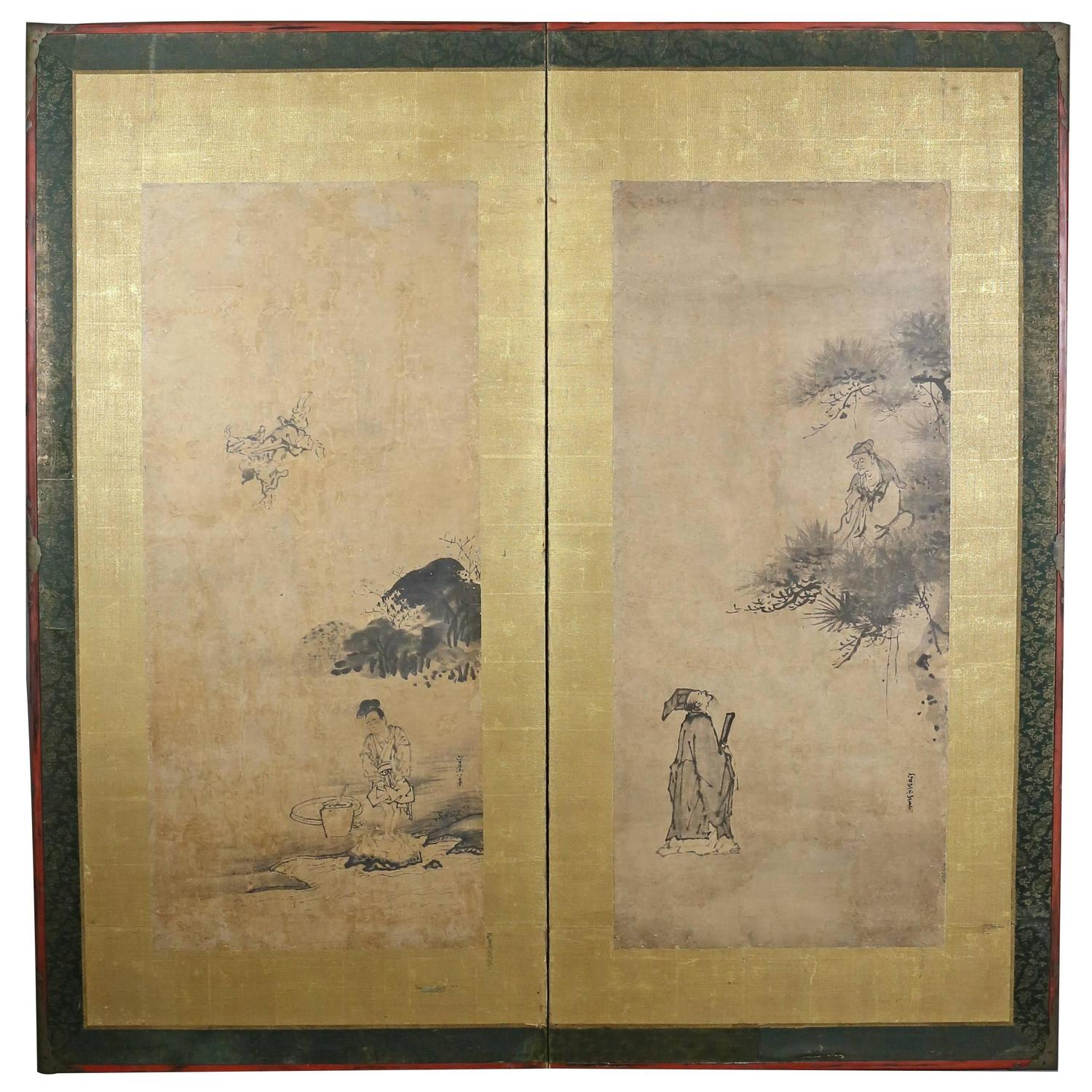 Antique japanese screens for sale - Framed Japanese Kano School Two Panel Screen Signed Kusumi Morikage