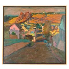 Oil on Canvas of Northern California Town by Jerrold Turner