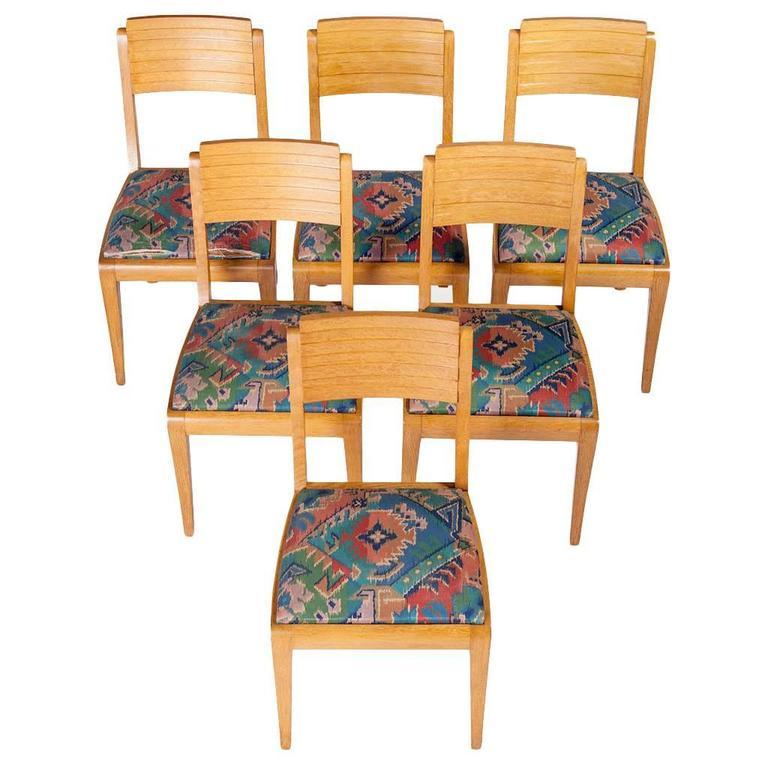 Gaston Poisson, Set of Six Chairs Art Deco, circa 1940