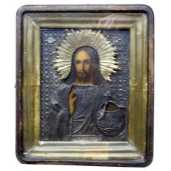 19th Century Russian Icon of Jesus Christ