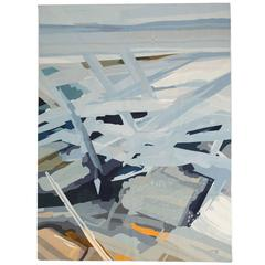 Jacques Fadat 'Espace Blue' Woolen Tapestry