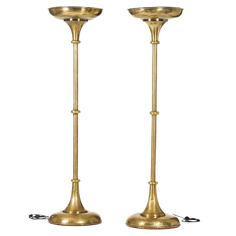 Pair of oversized art deco brass floor lamps circa 1930 for 1930 floor lamps
