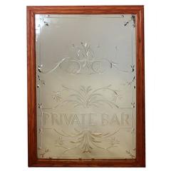 "Vintage English ""Private Bar"" Glass Sign"