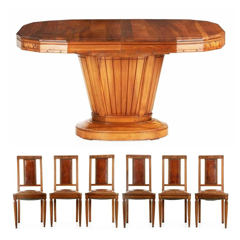 Art Deco Carved Walnut Dining Table with Six Leather Chairs, France, circa 1920s