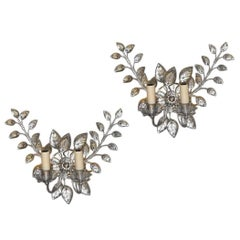 Pair of French Silver-Leaf Sconces