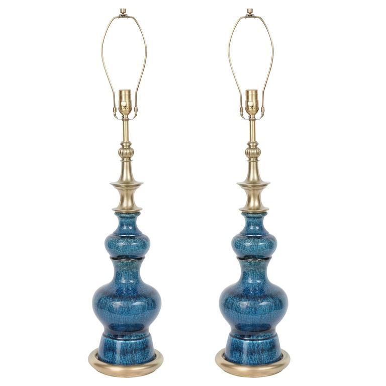 Stiffel Blue Crackled Glazed Lamps
