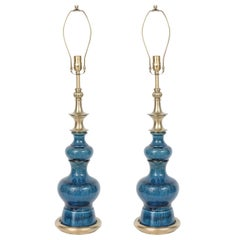 Stiffel Blue Crackled Glazed Lamps