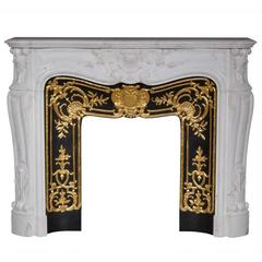 """Madame Du Barry"" Louis XV Style Fireplace Made in Carrara Marble"