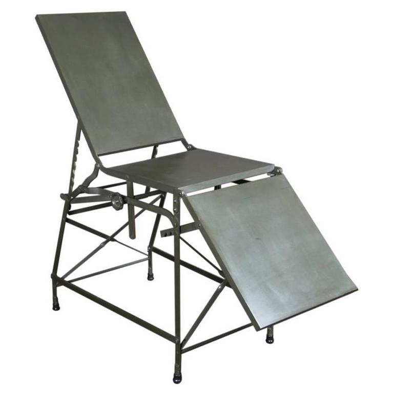 Antique Military Army Medical First Aid Metal Portable Folding Bed Table 1