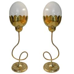 Set of Four Tulip Table Lamps with Glass Globes