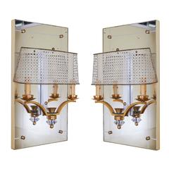 Pair of Italian Two-Light Sconces with Perforated Shades and Mirror Backplates