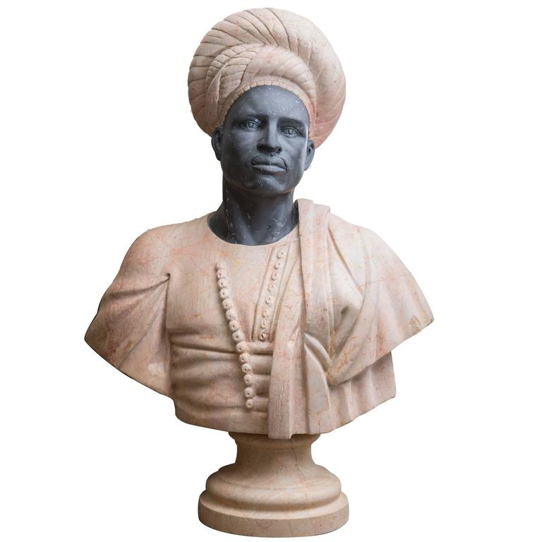 Marble Bust of Moor For Sale