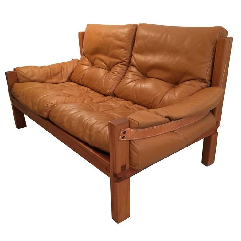 Two-Seat Sofa by Pierre Chapo Solid Elm and Cognac Leather