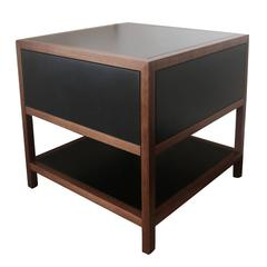 Driver Side Table in Black Paper Composite and Oiled Walnut, Single Drawer