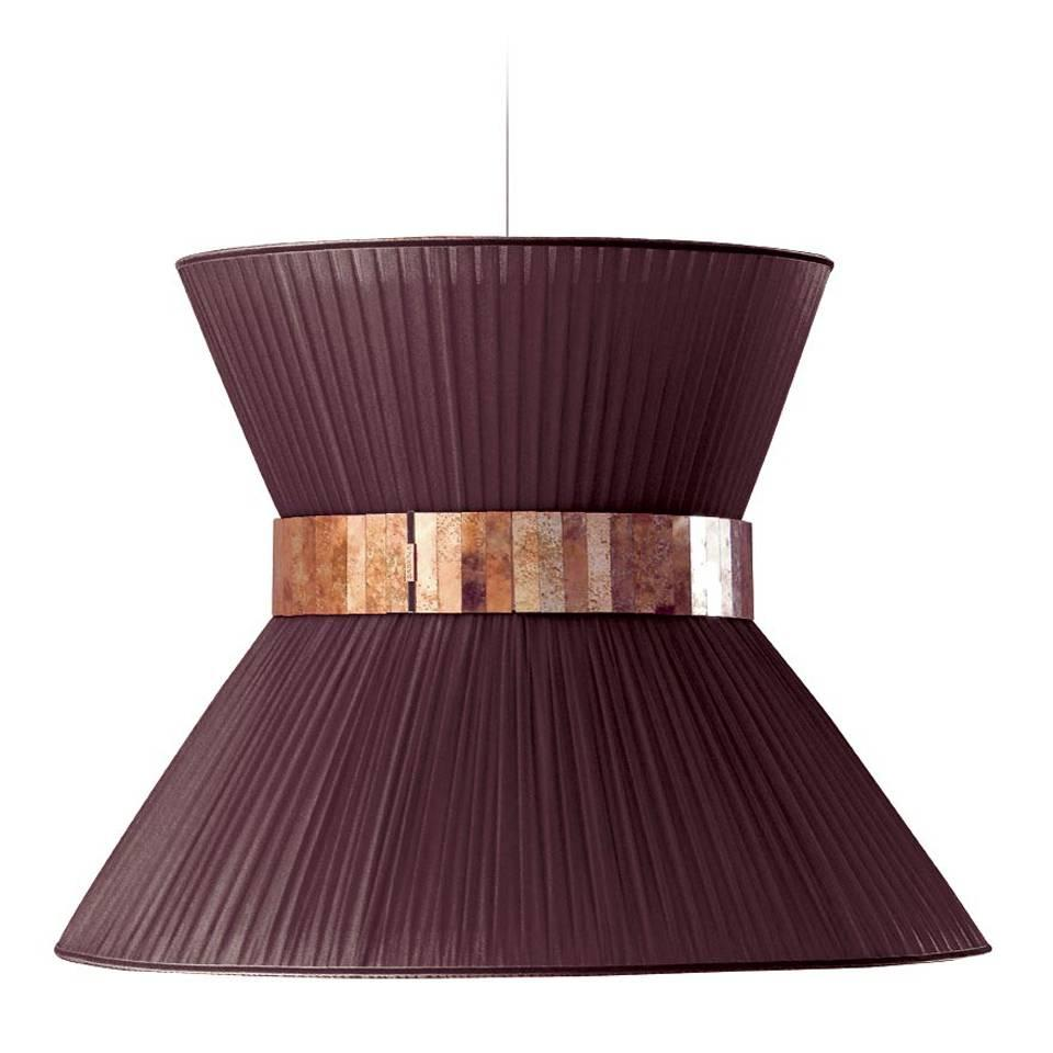 Tiffany contemporary Hanging Lamp 80cm purple Silk Silvered Glass brass Canopy