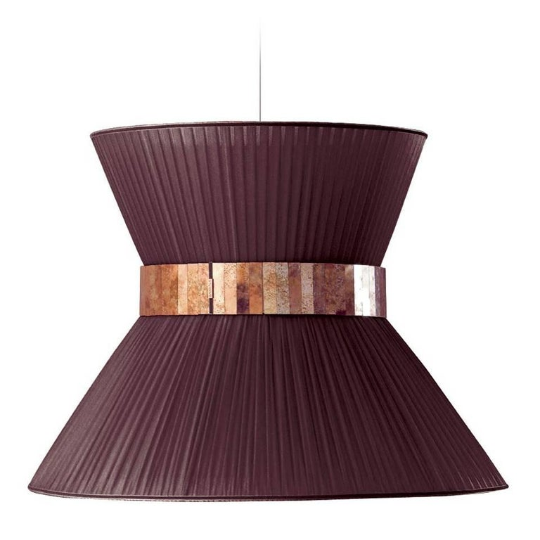 Tiffany contemporary Hanging Lamp 80cm purple Silk Silvered Glass brass Canopy  For Sale