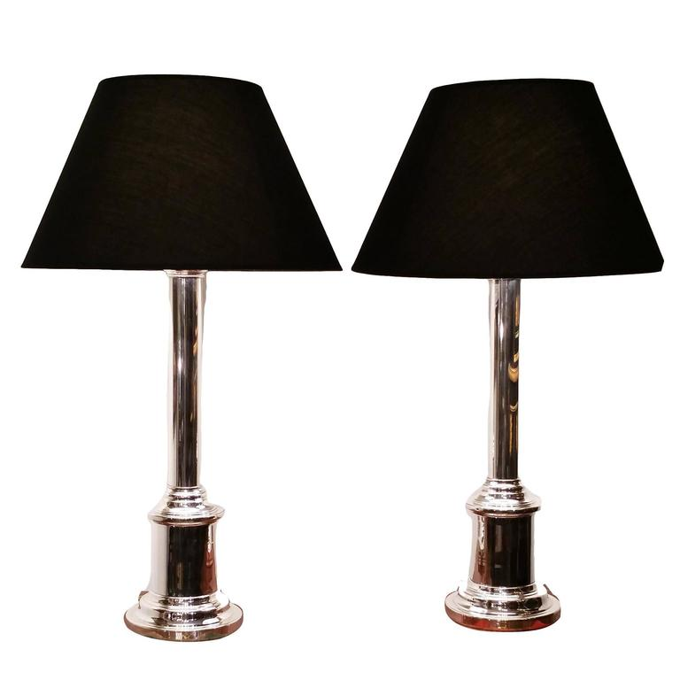 Pair of silver plated contemporary table lamps with black for Black and silver lamps