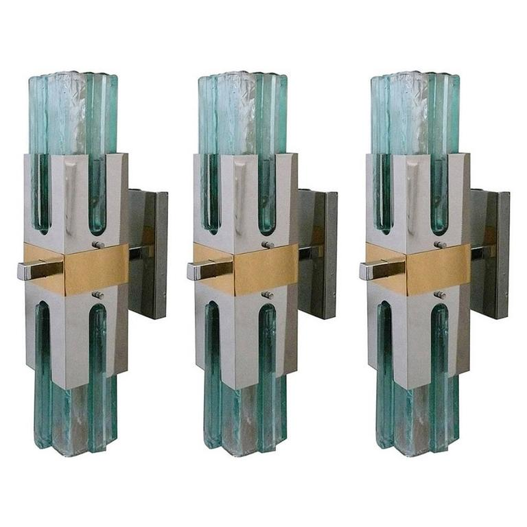 Italian Green Glass Sconces at 1stdibs