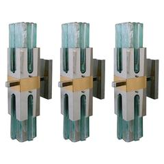 Italian Green Glass Sconces