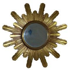 Monumental 1980s Gilded Sunburst Starburst Mirror