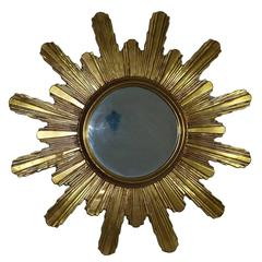 Monumental 1980s Gilded Sunburst Starburst Mirror