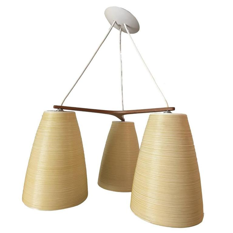 Teak mid century modern lotte three shade pendant light for Mid century modern pendant light fixtures