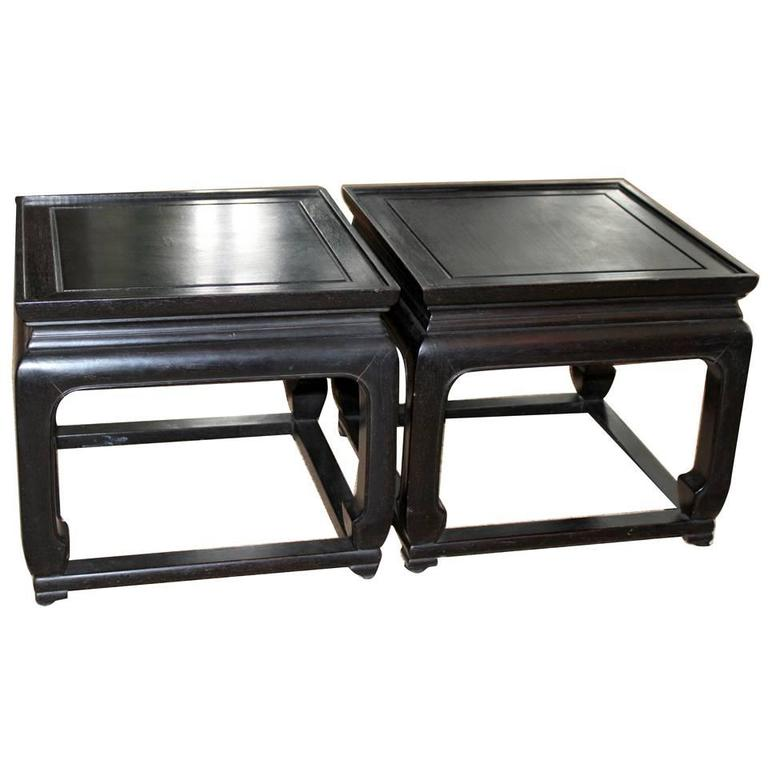 Pair of Vintage Chinese Ebonized Rosewood End or Occasional Tables