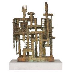 """Mid-Century Brutalist Bronze Sculpture by Canevari """"Etrusicans"""""""