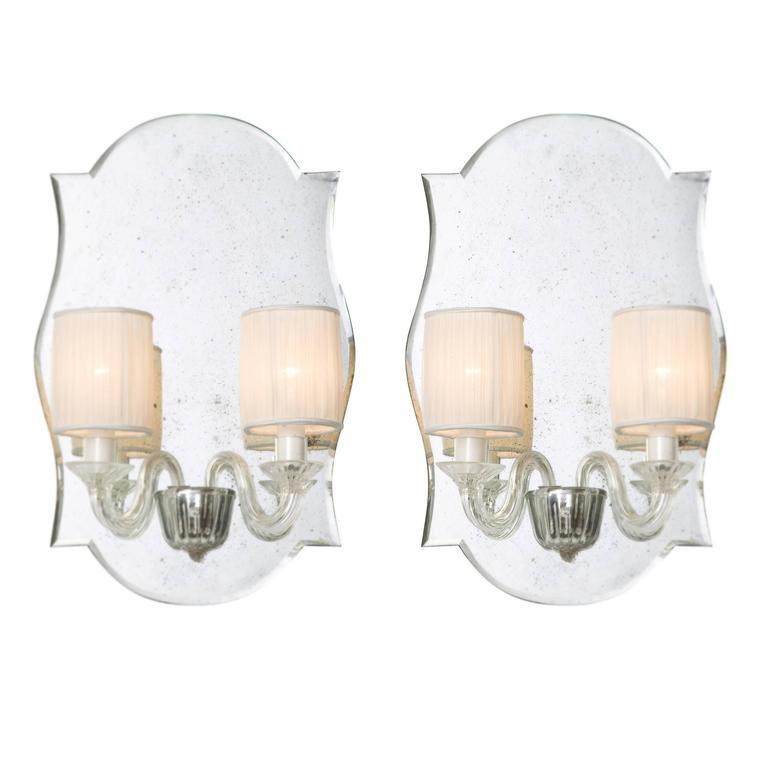 Pair of Eliseo Murano Glass Mirrored Wall Lights