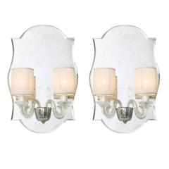 Pair of Eliseo Murano Glass Mirrored Wall Lights