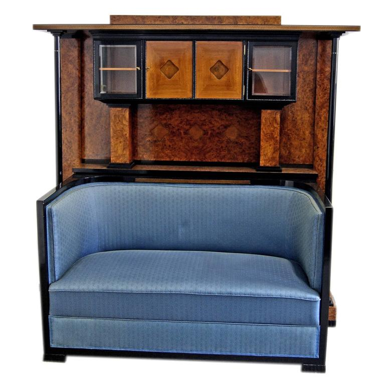 Josef Maria Olbrich Music Room Settee Cabinet Darmstadt Germany made c.1900 For Sale