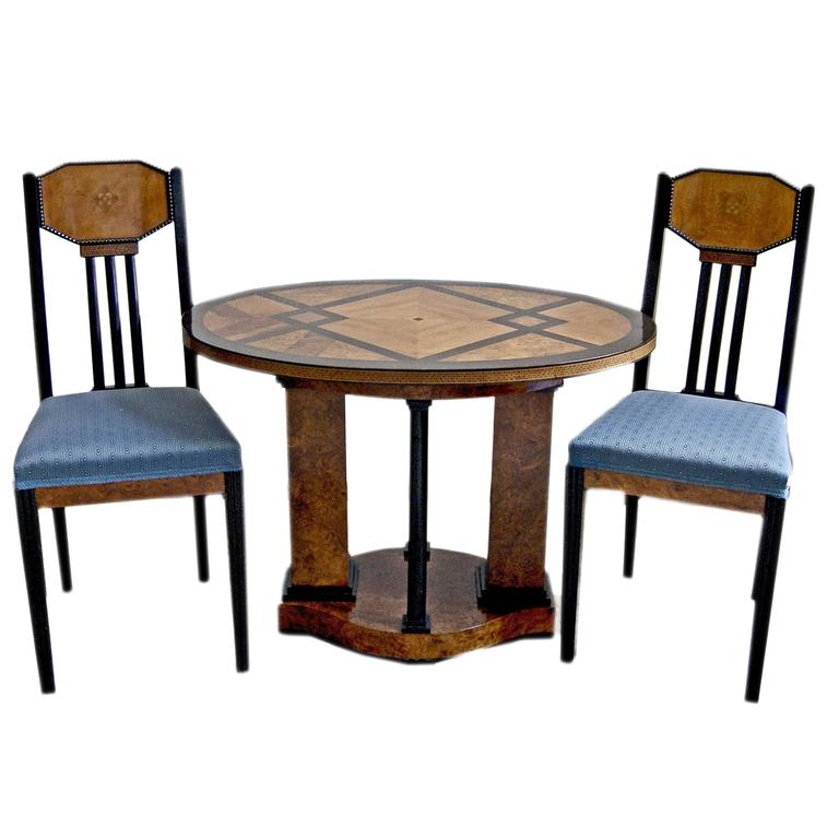 Josef Maria Olbrich Music Room Table Two Chairs Darmstadt Germany made c.1900 For Sale