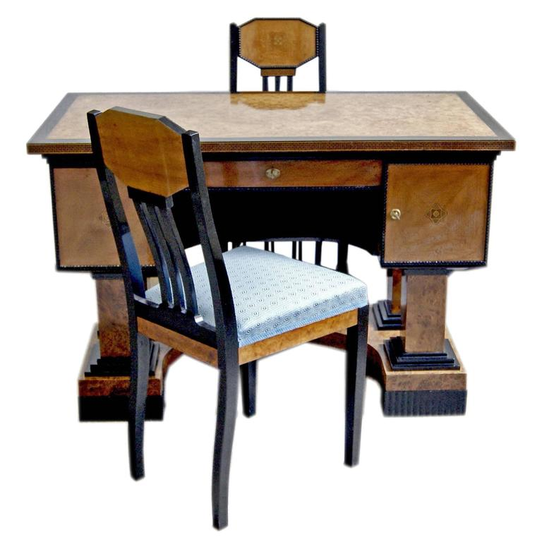 Music Room Desk Two Chairs Circle Josef Maria Olbrich Darmstadt Germany c.1900 1