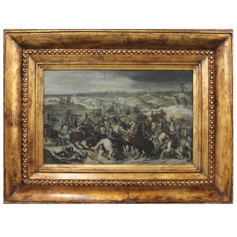 Antique Battle Scene Painting