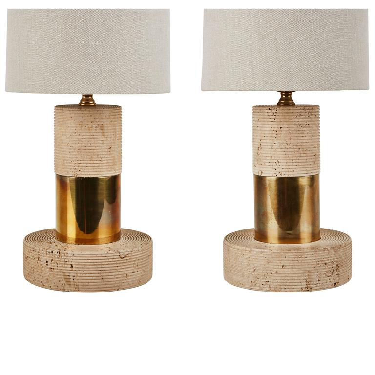 Pair of italian travertine table lamps for sale at 1stdibs pair of italian travertine table lamps for sale keyboard keysfo Image collections