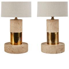 Pair of Italian Travertine Table Lamps