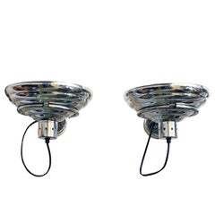 1960´s Pair of Industrial Polished Aluminium Wall Lights