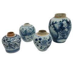 19th Century Set of Four Antique Chinese Ceramic Pots