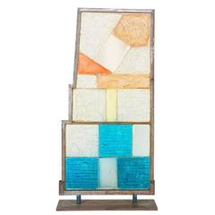 Vintage Resin and Steel Freestanding Abstract Sculpture