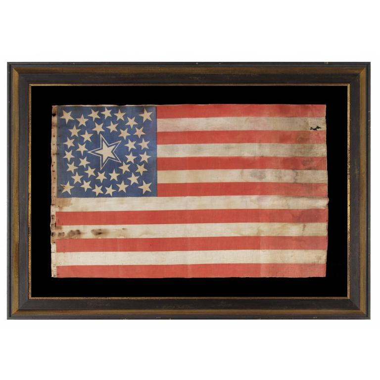 36 Stars in a Medallion Configuration on a Large Scale Parade Flag For Sale