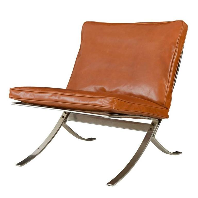 Barcelona Style Lounge Chair With Leather Cushions Circa
