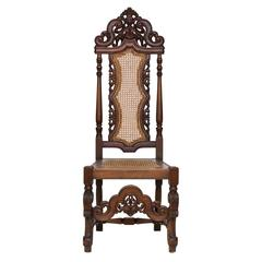 19th Century Carved Walnut Side Chair with Cane