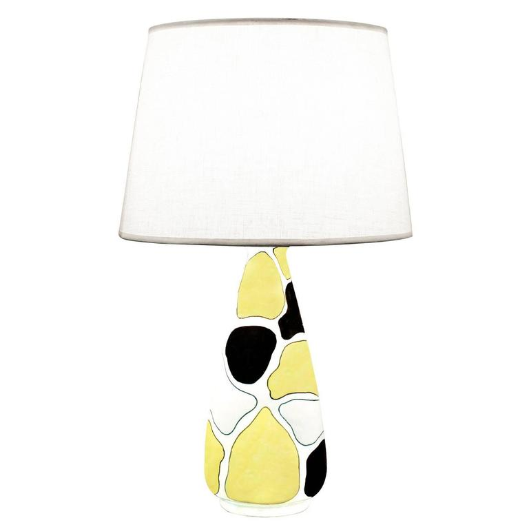 Hand Decorated Studio Made Table Lamp, 1950s For Sale