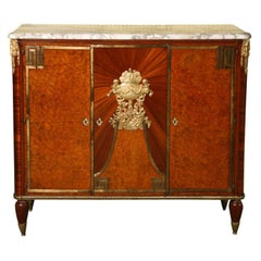 19th Century Louis XVI Style Bronze-Mounted Marble-Top Mahogany Cabinet