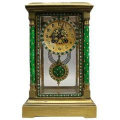 French Champleve Japy Freres Mantel Clock for Camerden & Foster, circa 1920
