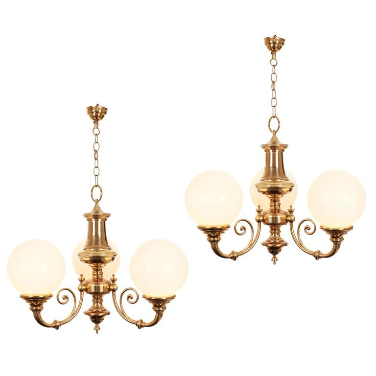 Grand Brass and Milk Glass Triple Ball Globe Chandelier at