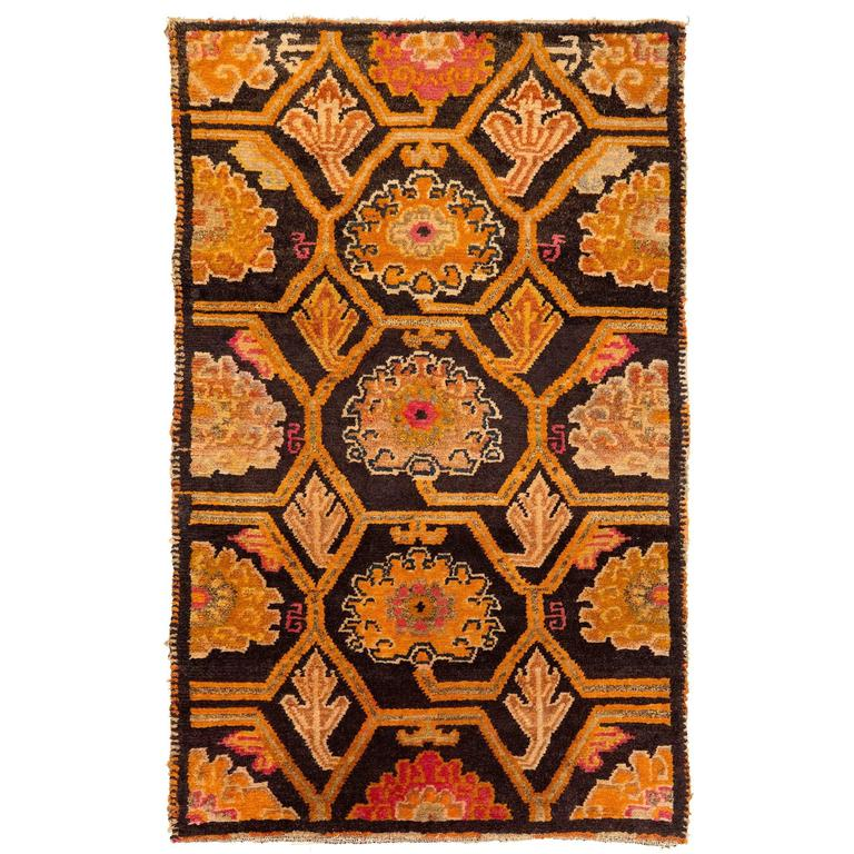 Antique Tibetan Art Deco Rug For Sale